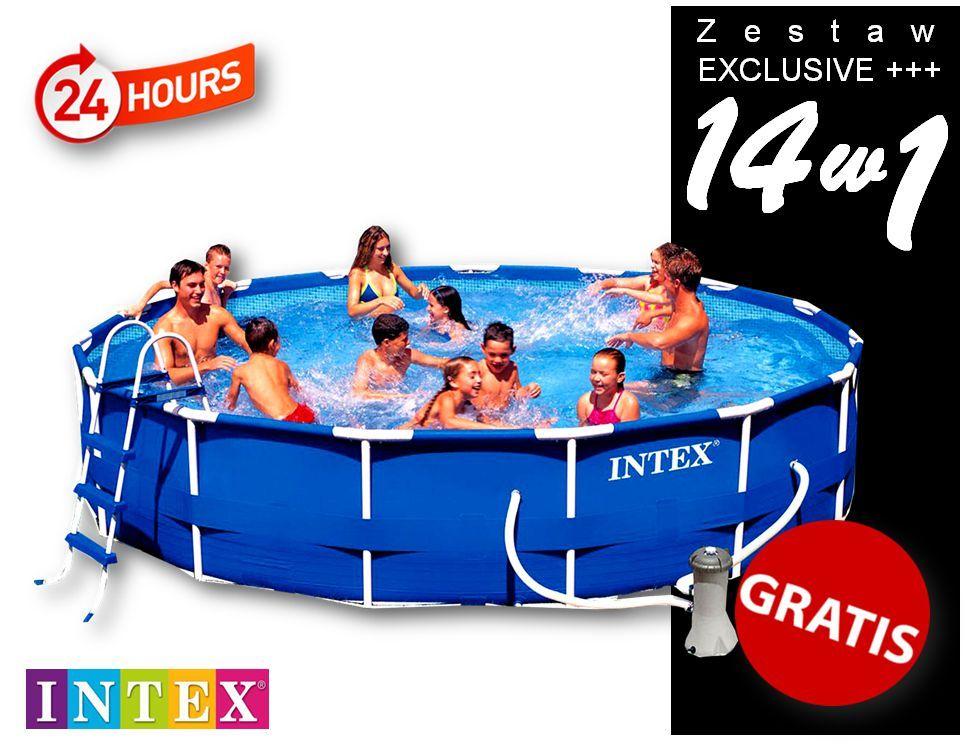 Zestaw Exclusive ++ | Basen ogrodowy Intex stelażowy 457x91 | 14 w 1 | 28232